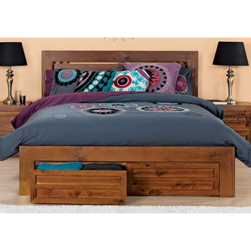 Bambi Solid Pine Timber King Bed with End Drawers