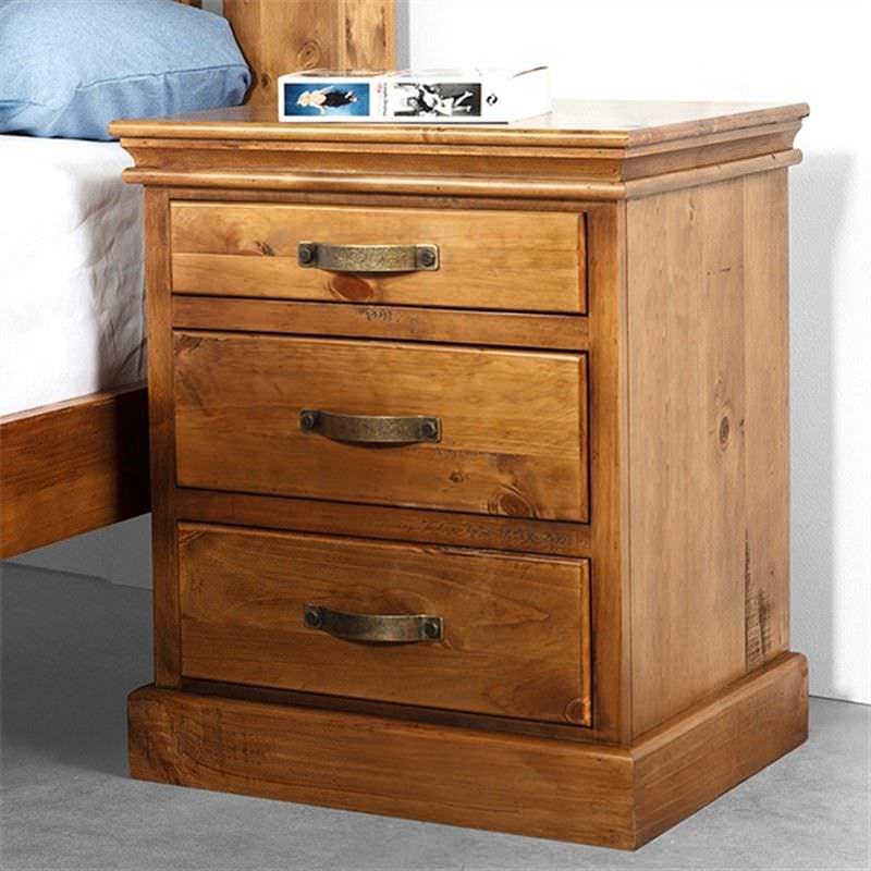 Kipling Solid Pine Timber 3 Drawer Bedside Table - Light Oak Finish