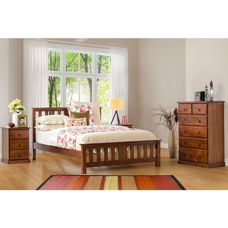 Carrington Double Bed New Zealand Pine Chocolate Colour