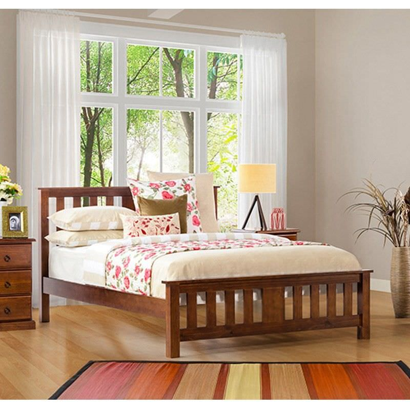 Carrington Queen Bed New Zealand Pine Chocolate Colour