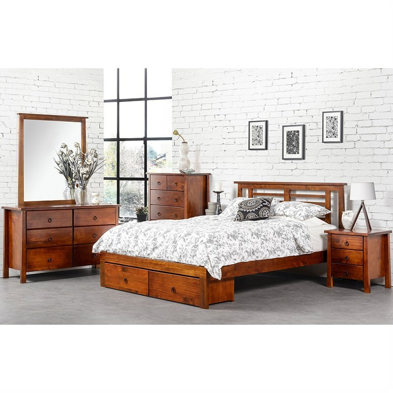 Tokyo Double Bed With Footend 2 Drawer Storage Box New Zealand Pine Golden Oak