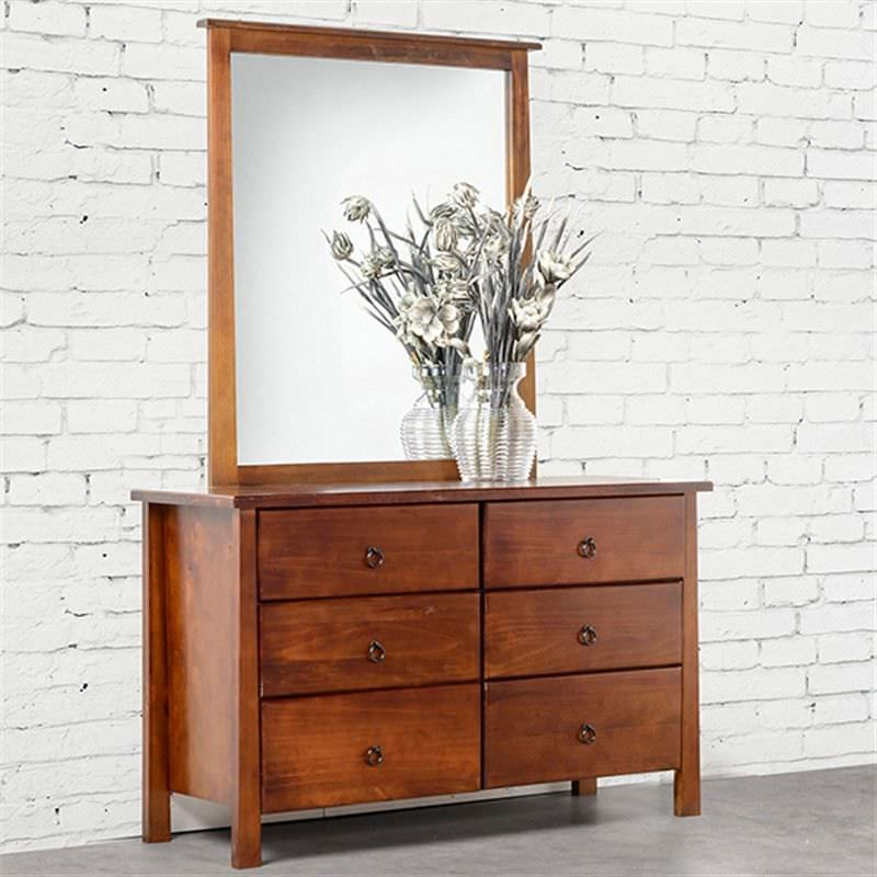 Tokyo 6 Drawer Dresser with Mirror New Zealand Pine Golden Oak