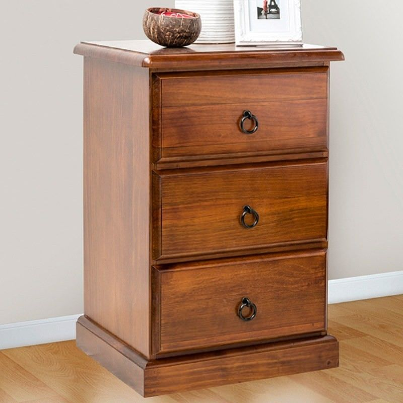 Standard New Zealand Pine 3 Drawer Bedside Table in Chocolate