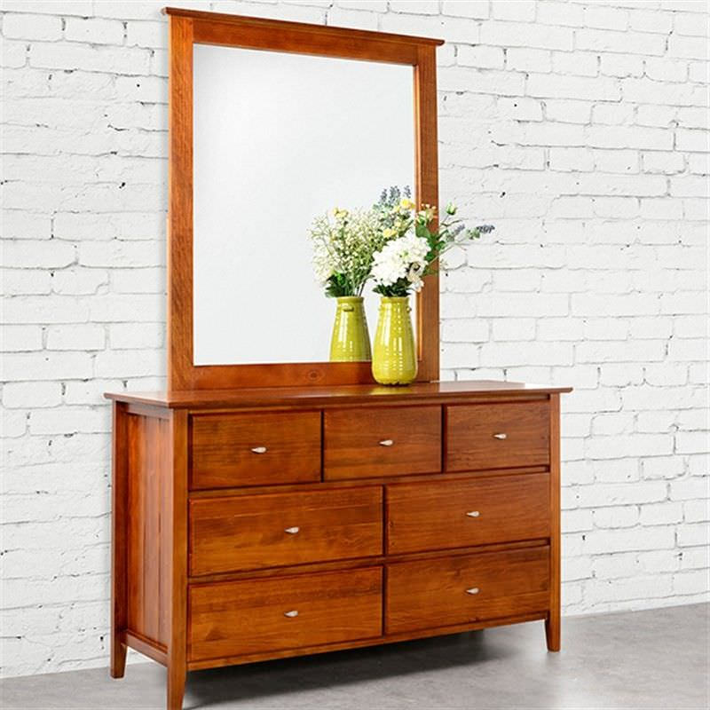 Tana 7 Drawer Dresser with Mirror New Zealand Pine Walnut