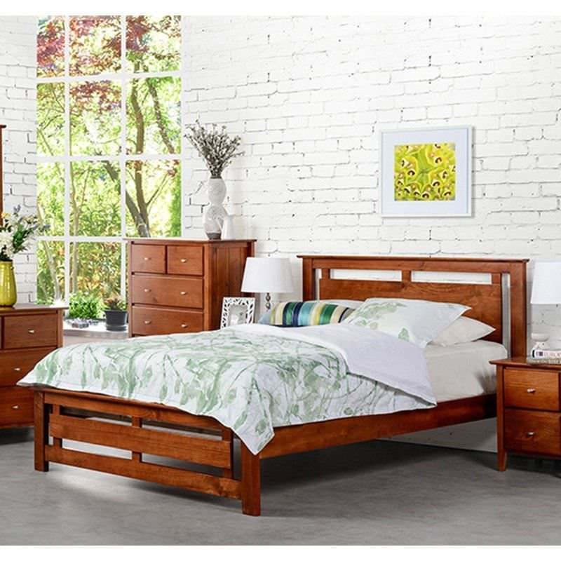 Tana King Single Bed New Zealand Pine Walnut