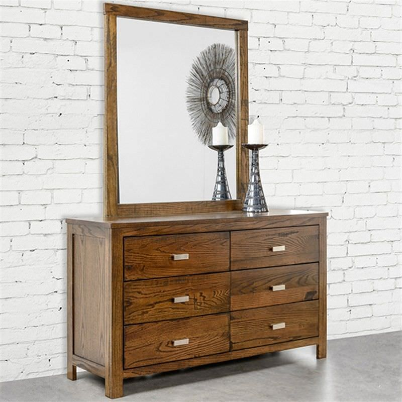 Memphis Solid Red Oak Timber 6 Drawer Dressing Table with Mirror - Rouph Saw Finish