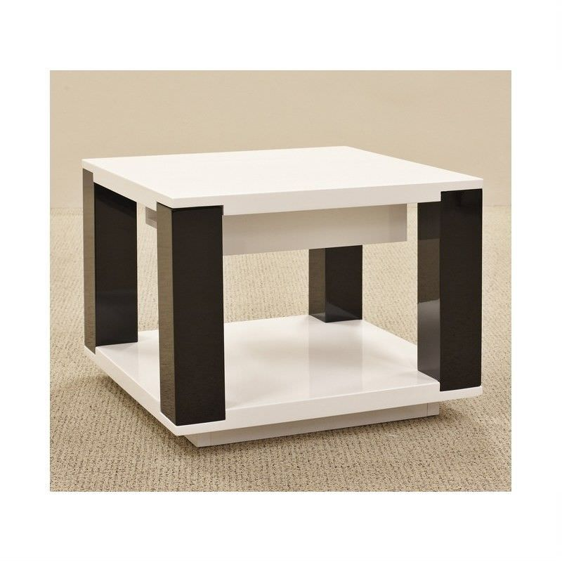 Oreon Lamp Table - Gloss White and Black Finish