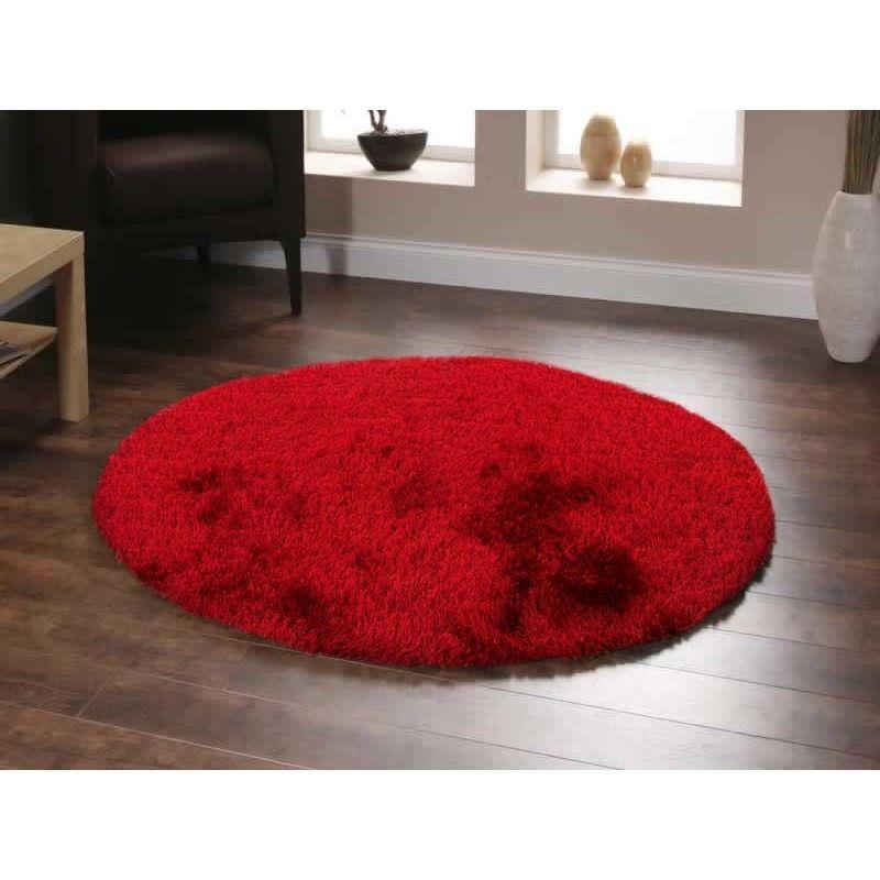 Plush Luxury Round Shag Rug in Red - 120x120cm