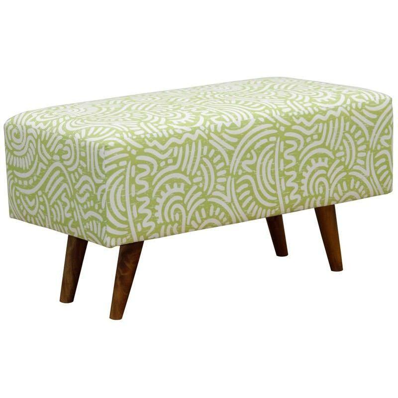 Felicia Fabric Upholstered Mahogany Timber Rectangular Ottoman - Green