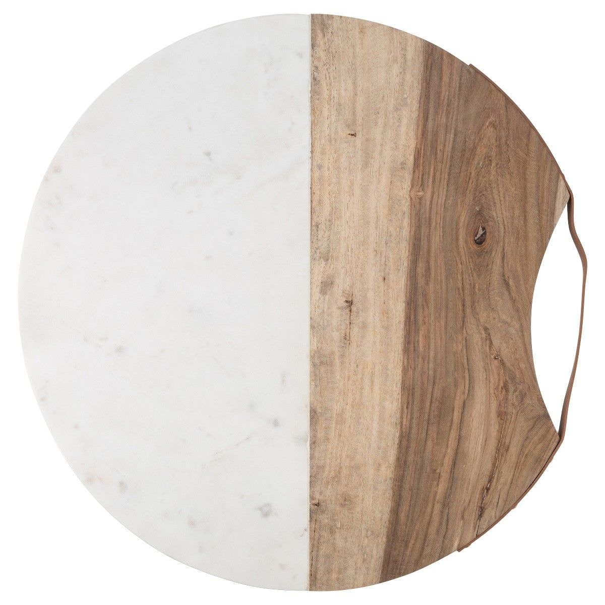 Luxe Marble & Timber Round Serving Board