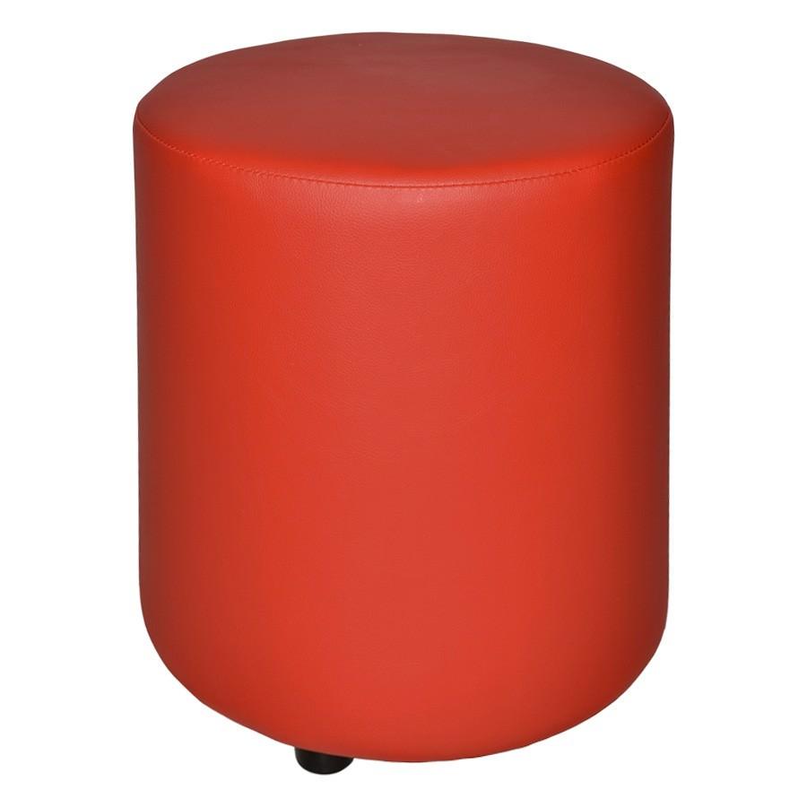Delhi Commercial Grade Vinyl Ottoman, Red