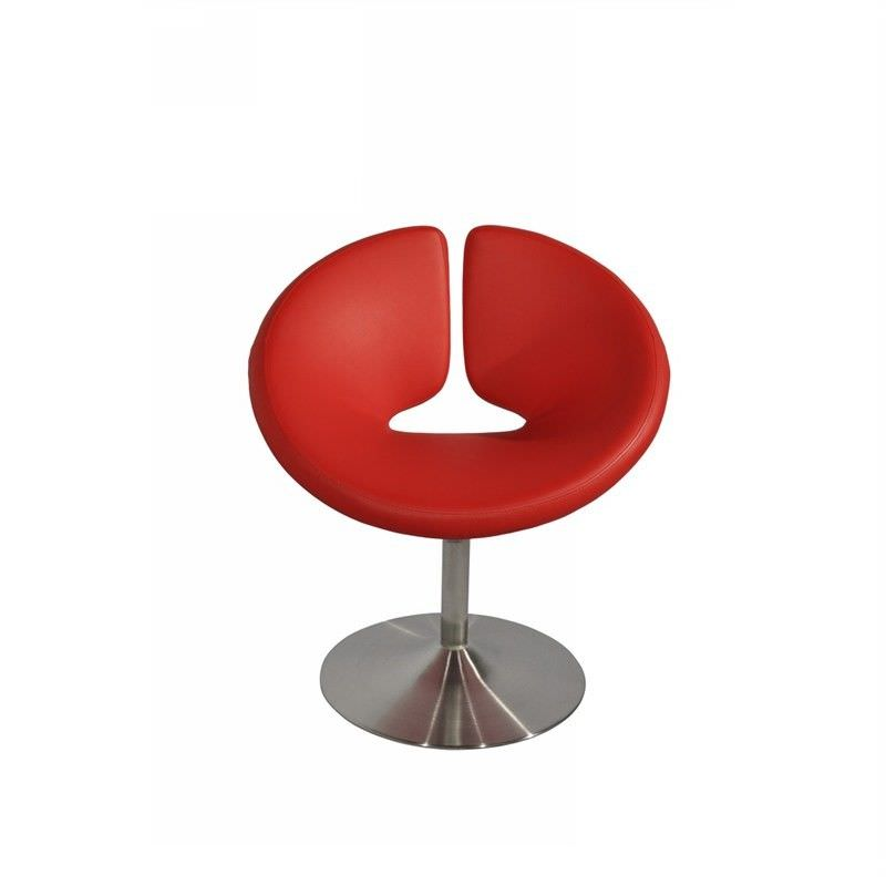 U Shape PU Leather Upholstered Occasional Chairs, Red