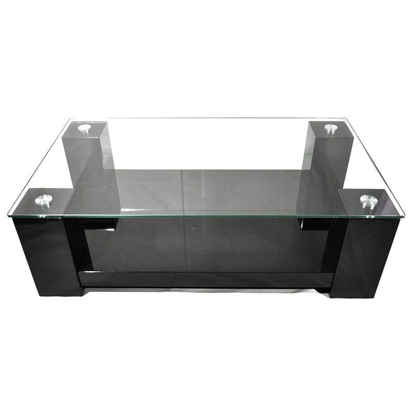Winnie Glass Top 138cm Coffee Table - High Gloss Black