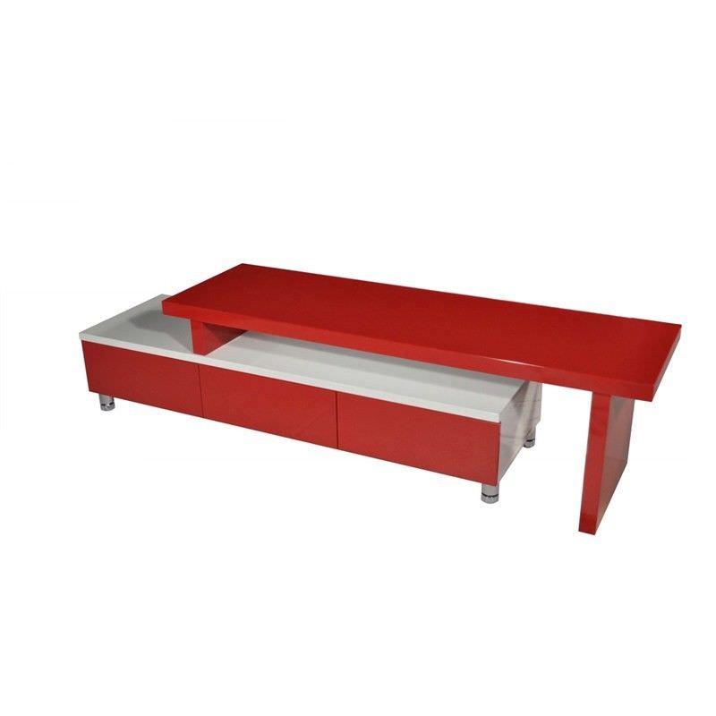 Charlene 3 Drawer Extendable TV Unit, 164- 286cm, Red / White