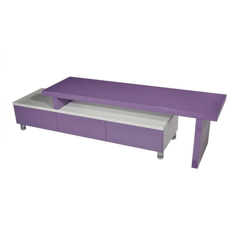Charlene 3 Drawer Extendable TV Unit, 164- 286cm, Purple/ White