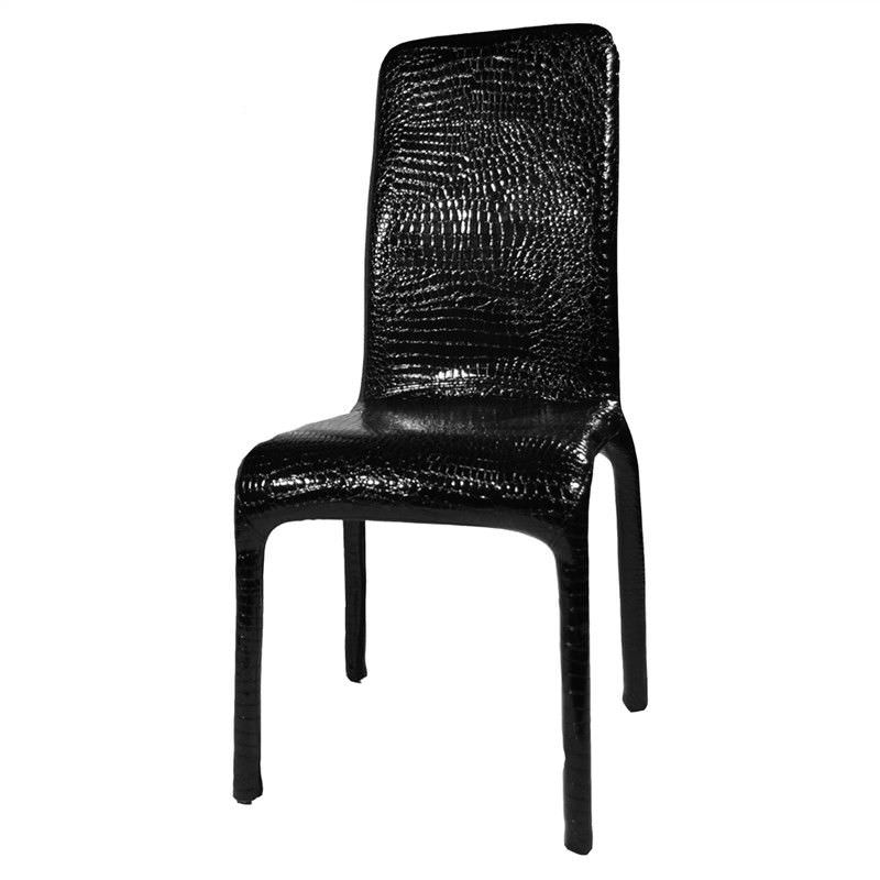 Fabio Croc Pattern PU Leather Dining Chair  - Black