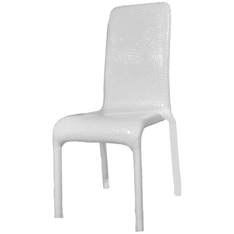Fabio Croc Pattern PU Leather Dining Chair  - White