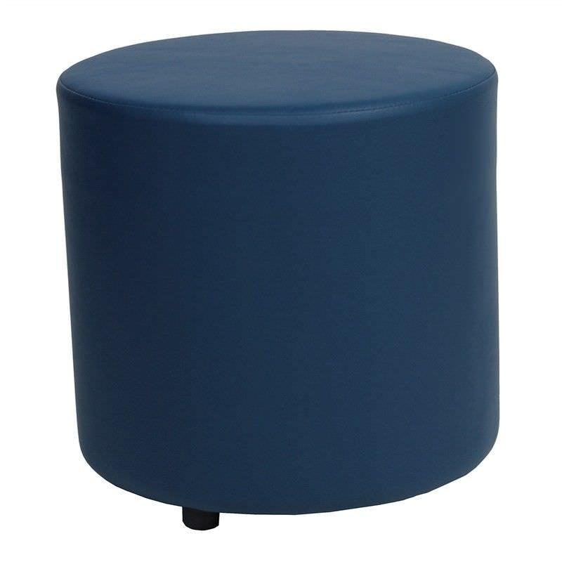 Blob V2 Commercial Grade Vinyl Round Ottoman - Blue