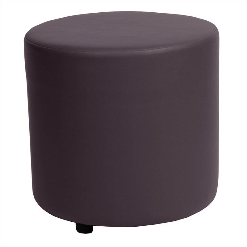Blob Commercial Grade Vinyl Round Ottoman - Brown