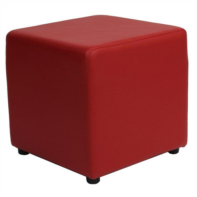 Berlin V2 Commercial Grade Square Ottoman - Red