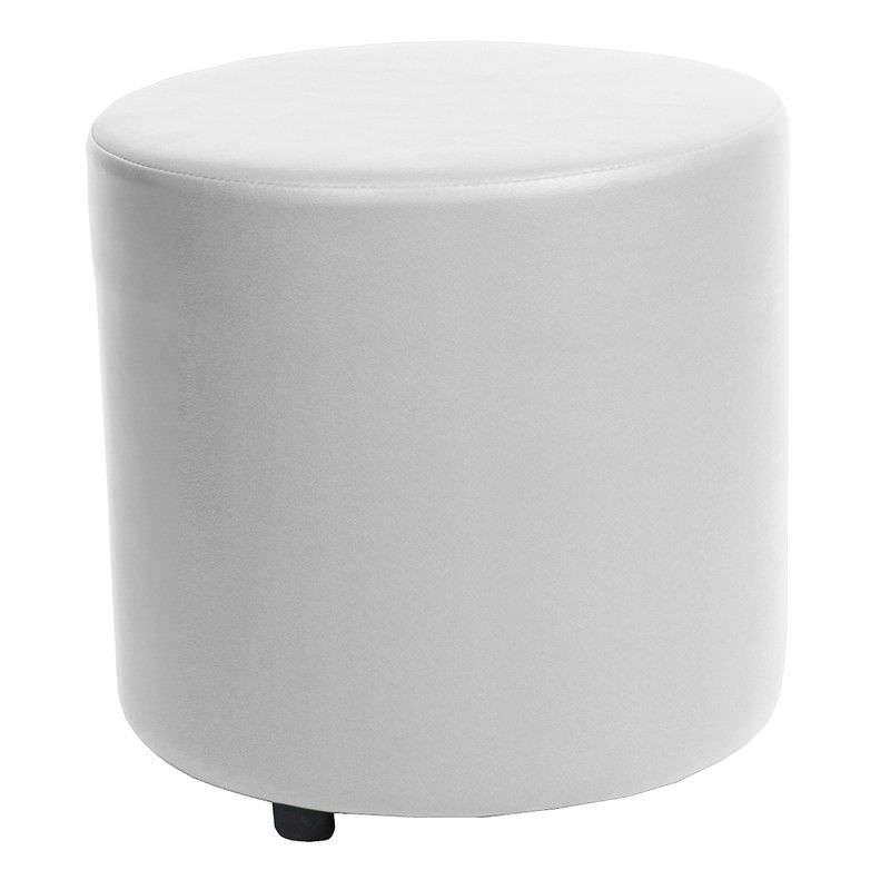 Blob V2 Commercial Grade Vinyl Round Ottoman - White