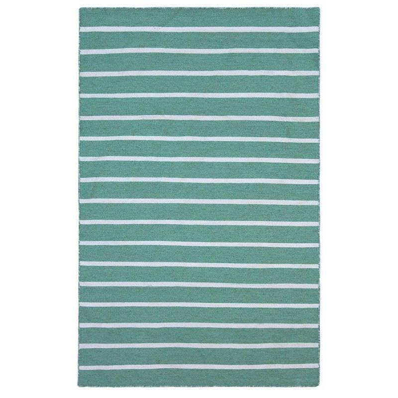 Pinstripe Hand Woven Indoor/Outdoor Rug, 220x320cm, Turquoise