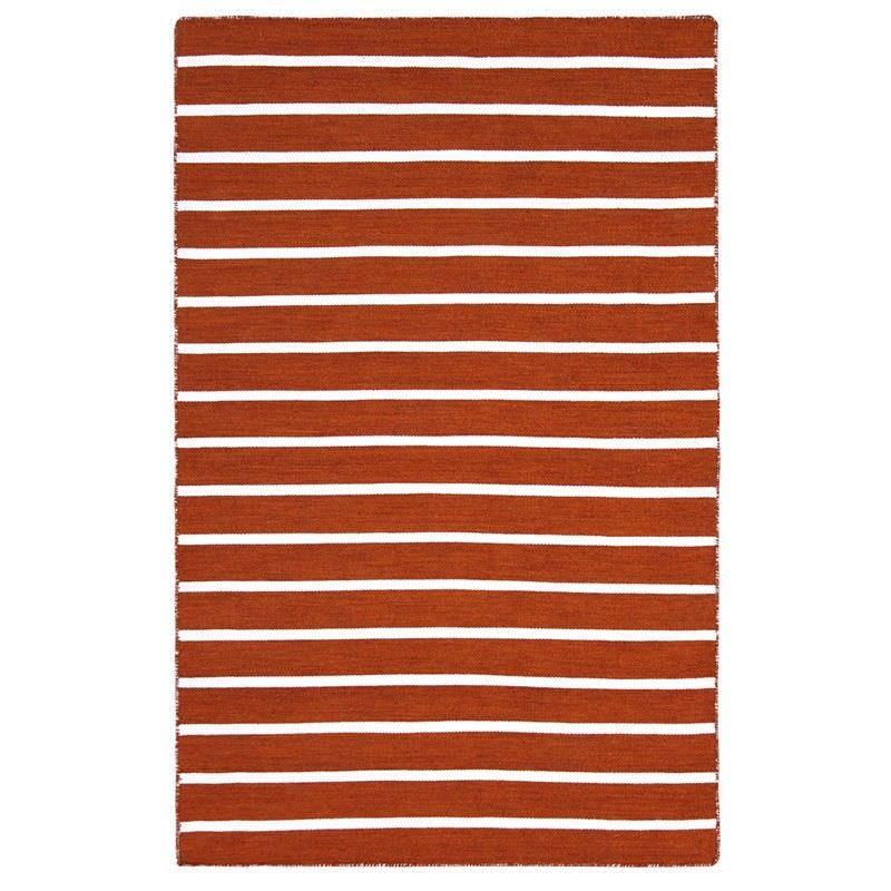 Pinstripe Hand Woven Indoor/Outdoor Rug, 220x320cm, Orange