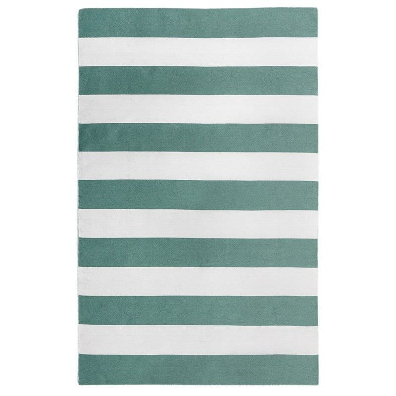 Bold Stripe Hand Woven Indoor/Outdoor Rug, 220x320cm, Turquoise