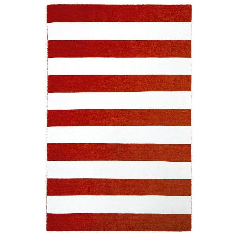Bold Stripe Hand Woven Indoor/Outdoor Rug, 220x320cm, Orange