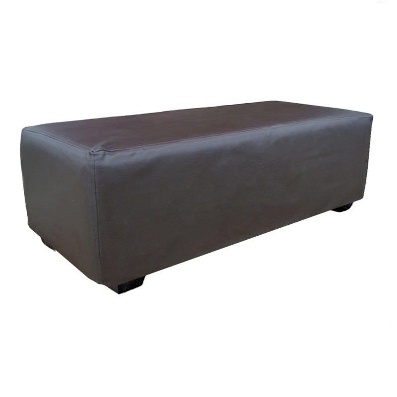 Chaise Beaten Leatherette Ottoman in Jet