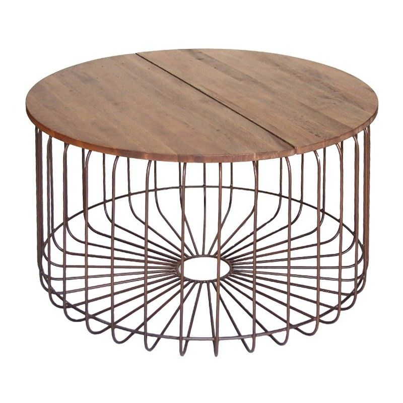 Arrell Timber and Metal Round Coffee Table, Bronze