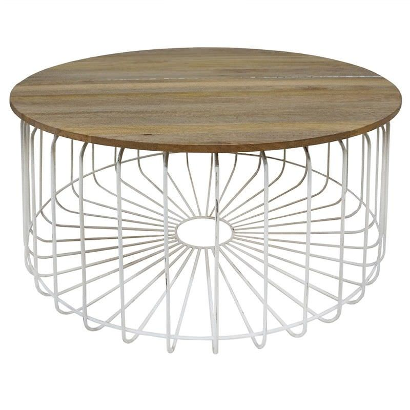 Arrell Timber and Metal 80cm Round Coffee Table - White