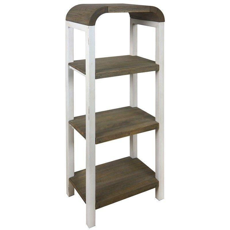 Hixton 4 Tier Solid Mango Wood Timber & Metal Display Shelf, White