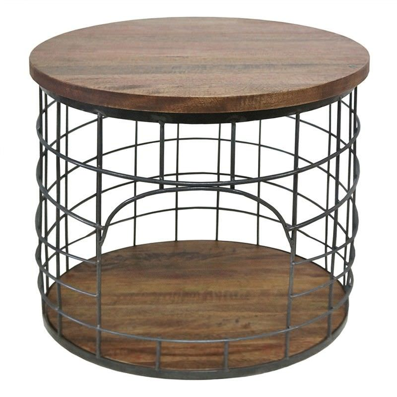 Bistro Timber and Metal Side Table - Charcoal