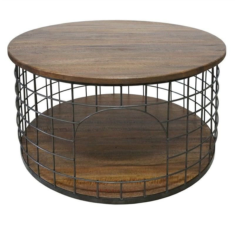 French Stamped Mango Coffee Table: Bistro Solid Mango Wood Timber And Metal Birdcage Coffee