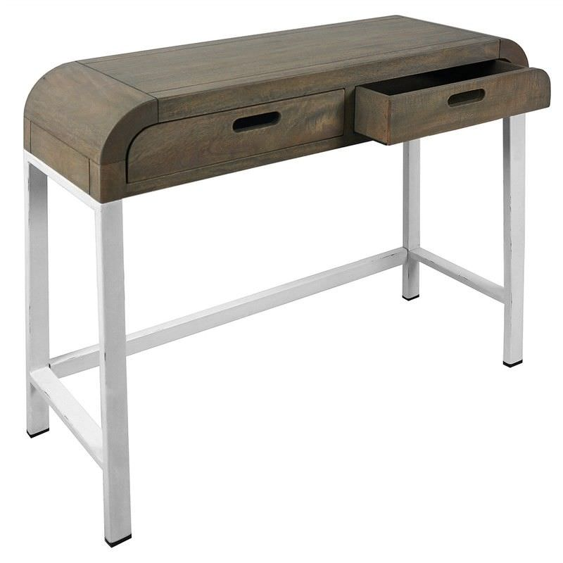 Hixton Solid Mango Wood Timber & Metal Console Table, White