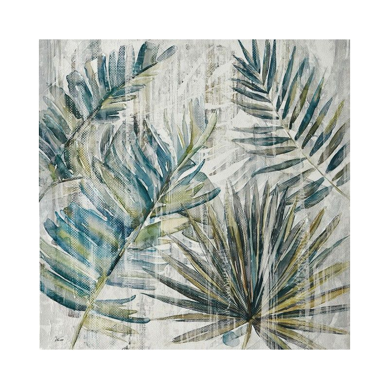 Stretched Canvas Wall Art, Tropical Leaves I, 80cm