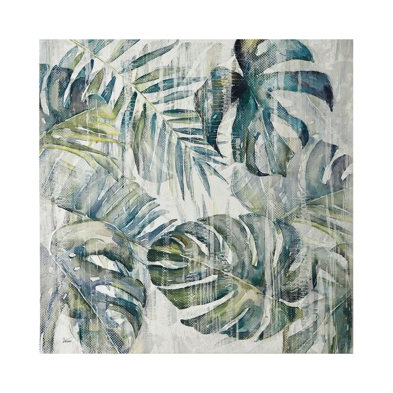 Stretched Canvas Wall Art, Tropical Leaves II, 80cm