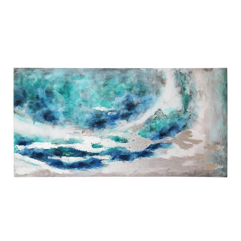 Stretched Canvas Abstract Wall Art Painting, Blue Nebula, 140cm