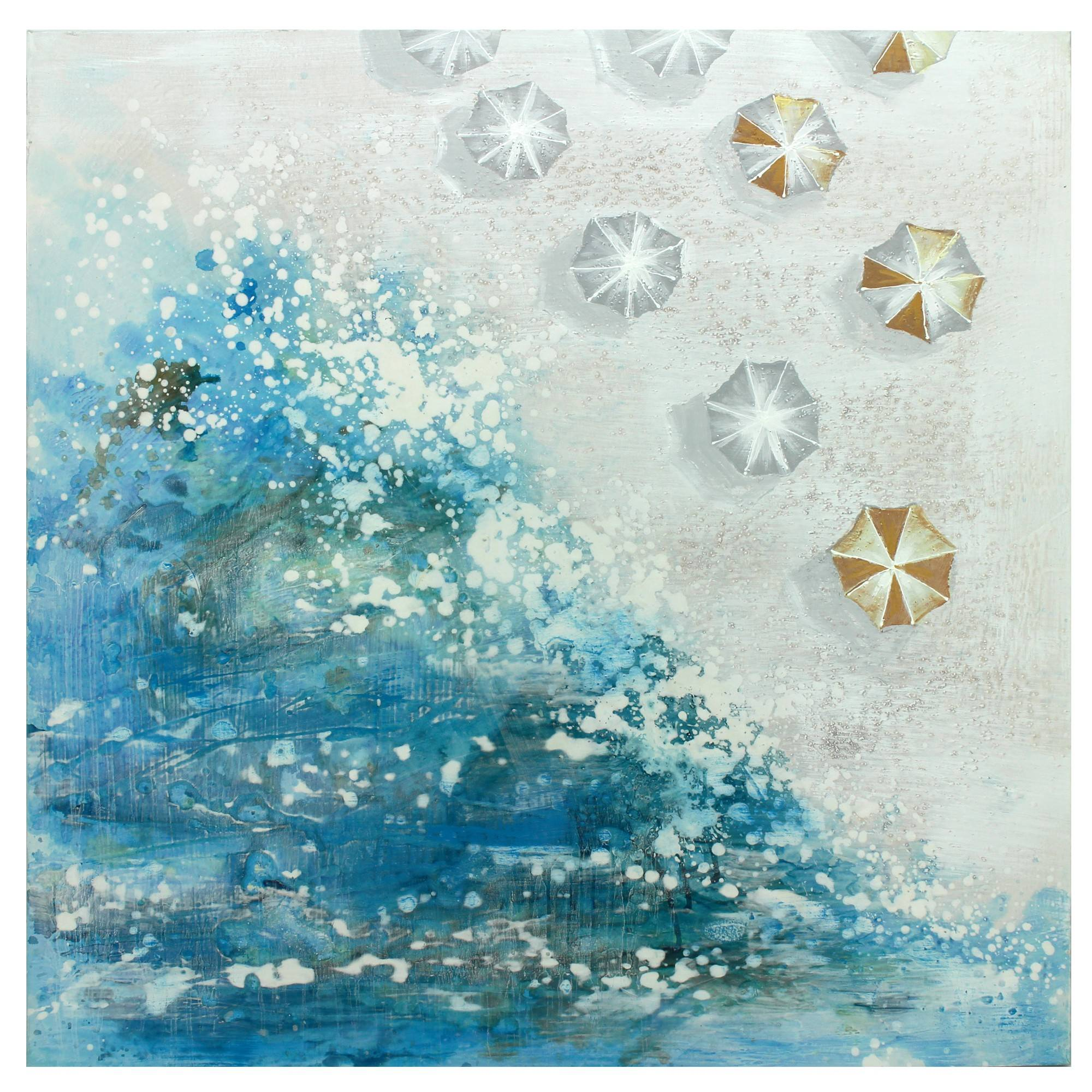 Beachside Stretched Hand Painted Canvas Wall Art, 90cm