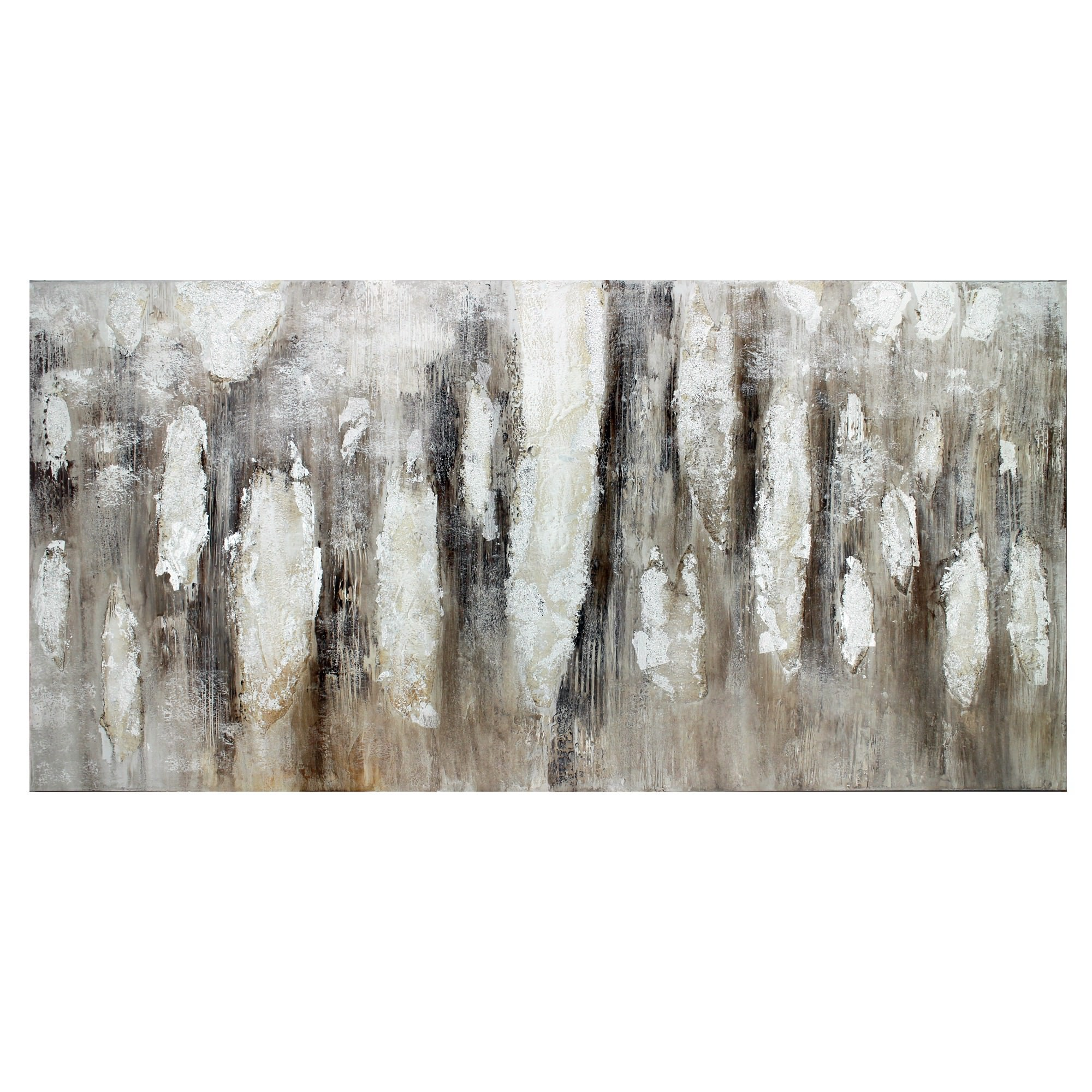 Silver Woodland Stretched Hand Painted Abstract Canvas Wall Art, 120cm