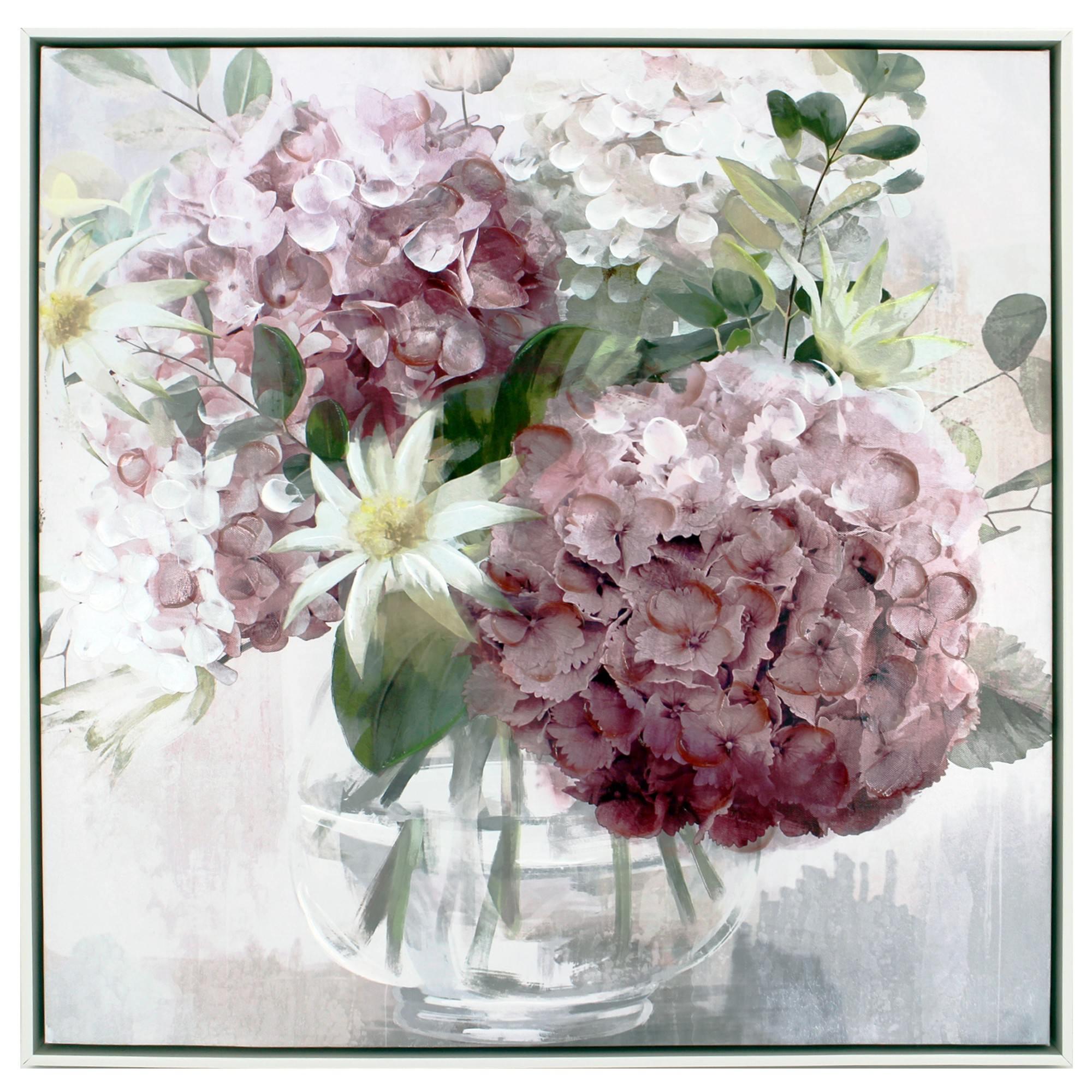 """Hydrangea Bouquet"" Framed Canvas Wall Art, No.1, 60cm"
