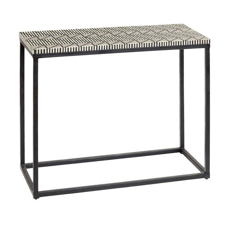 Zetta Bone Inlay & Metal Console Table