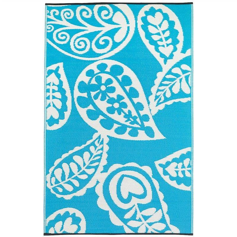 Paisley River 120x179cm Reversible Outdoor Rug - Blue/White