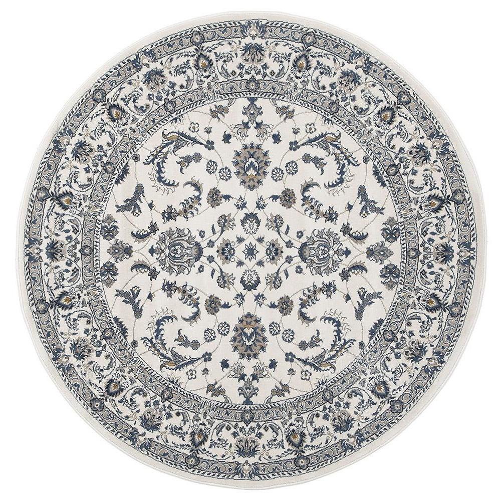 Palace Aisha Oriental Round Rug, 240cm, White/White
