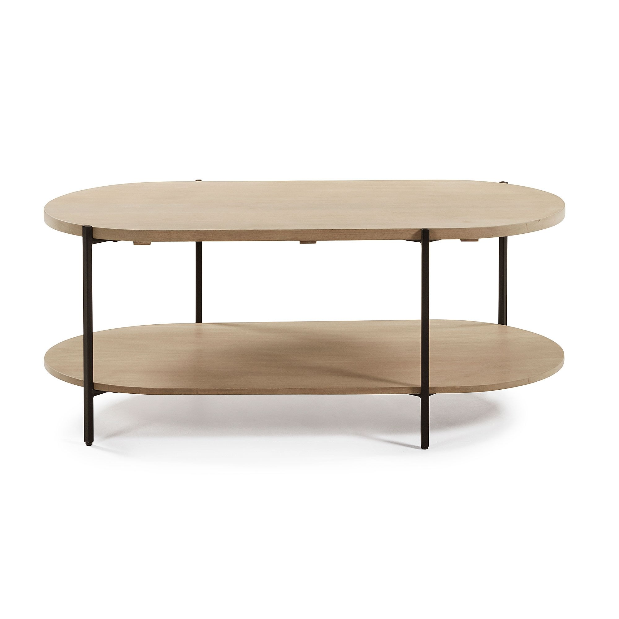 Aparador Mango Wood & Iron Oval Coffee Table, 110cm