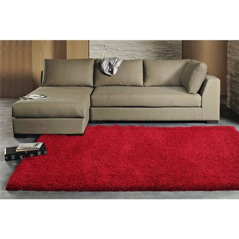 Ultra Thick Super Soft Shag Rug in Rouge - 170x120cm