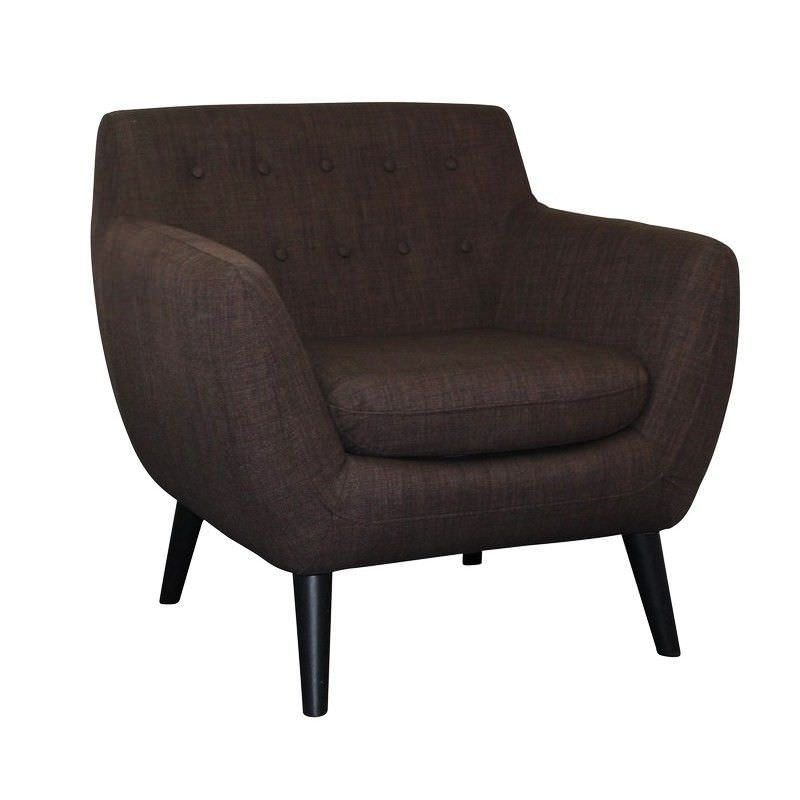 Bonjour Fabric Upholstered Armchair - Chocolate