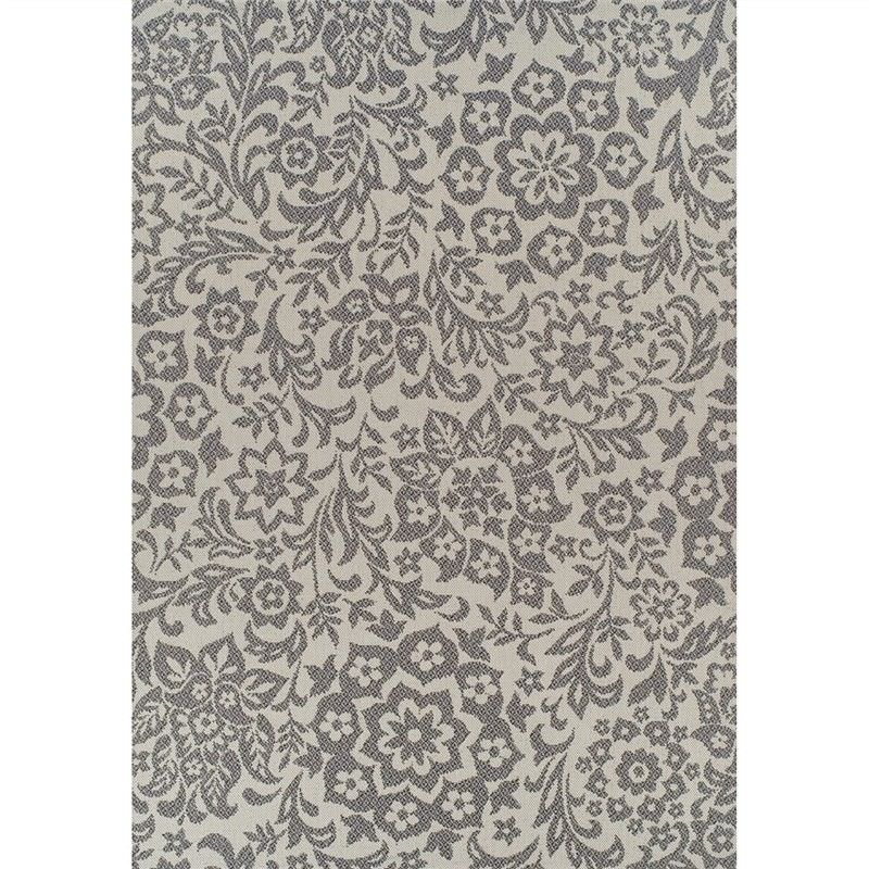 Pavilion Damask 180x270cm Egyptian Made Indoor/Outdoor Rug - Cream/Grey