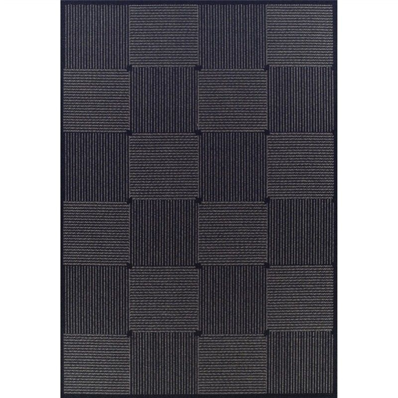 Pavilion Box 150x220cm Egyptian Made Indoor/Outdoor Rug - Black
